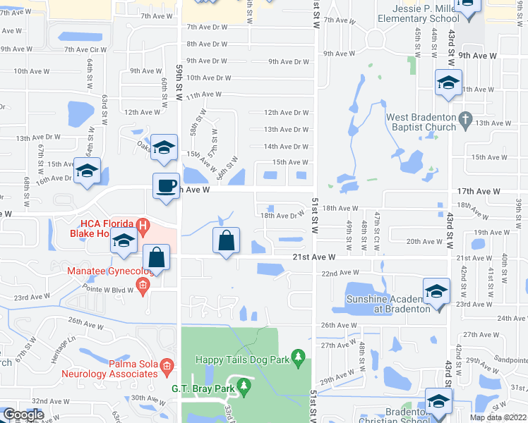 map of restaurants, bars, coffee shops, grocery stores, and more near 5408 18th Avenue Drive West in Bradenton