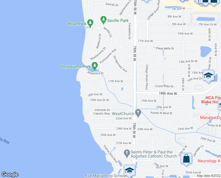 map of restaurants, bars, coffee shops, grocery stores, and more near 1708 78th Street West in Bradenton