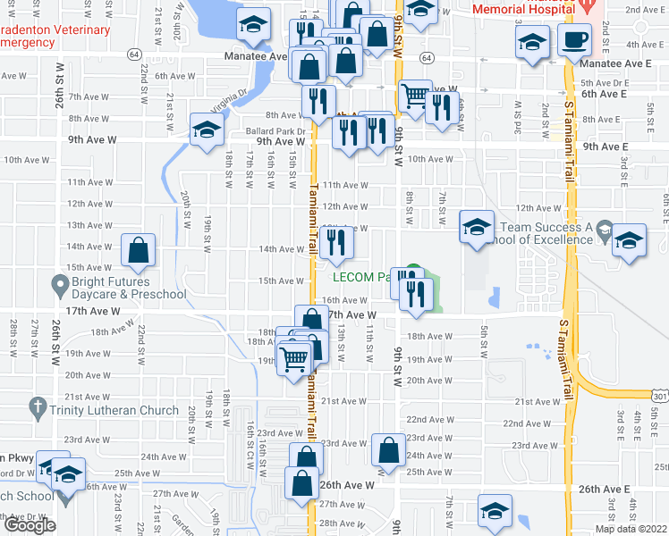 map of restaurants, bars, coffee shops, grocery stores, and more near 1410 13th Street West in Bradenton