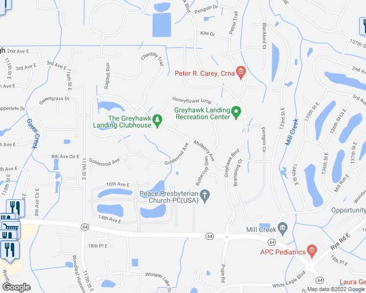 map of restaurants, bars, coffee shops, grocery stores, and more near 12609 Goldenrod Avenue in Bradenton