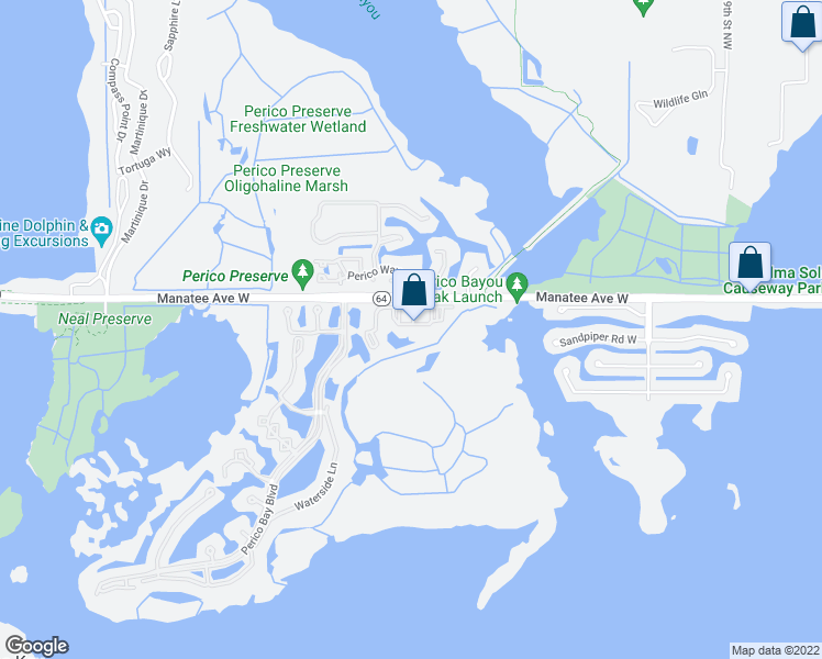 map of restaurants, bars, coffee shops, grocery stores, and more near 11001 Bristol Bay Drive in Bradenton