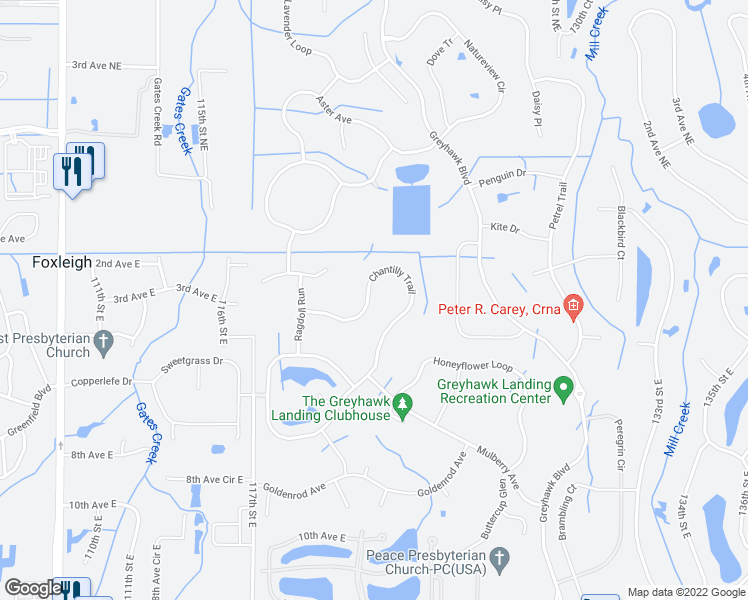 map of restaurants, bars, coffee shops, grocery stores, and more near 352 Chantilly Trail in Bradenton