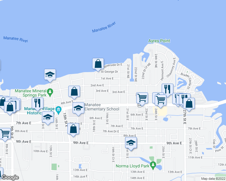 map of restaurants, bars, coffee shops, grocery stores, and more near 1911 3rd Avenue East in Bradenton