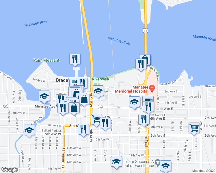 map of restaurants, bars, coffee shops, grocery stores, and more near 606 3rd Avenue West in Bradenton