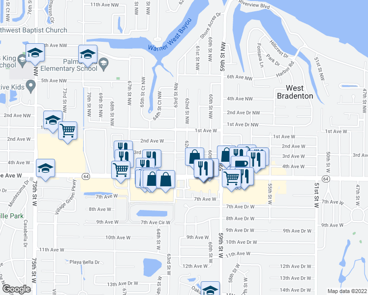 map of restaurants, bars, coffee shops, grocery stores, and more near 208 62nd Street West in Bradenton