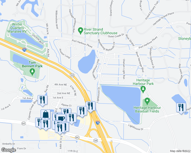 map of restaurants, bars, coffee shops, grocery stores, and more near 267 Cape Harbour Loop in Bradenton