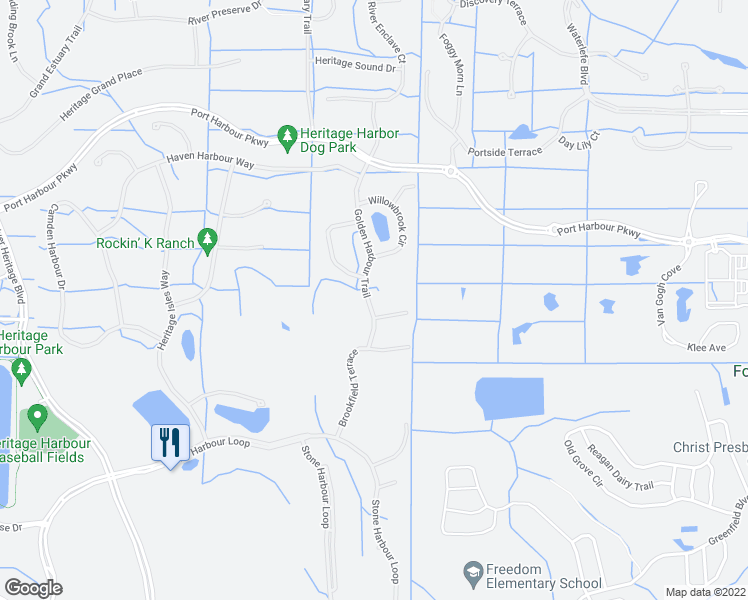map of restaurants, bars, coffee shops, grocery stores, and more near 323 Golden Harbour Trail in Bradenton