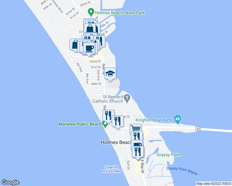 map of restaurants, bars, coffee shops, grocery stores, and more near 217 North Harbor Drive in Holmes Beach