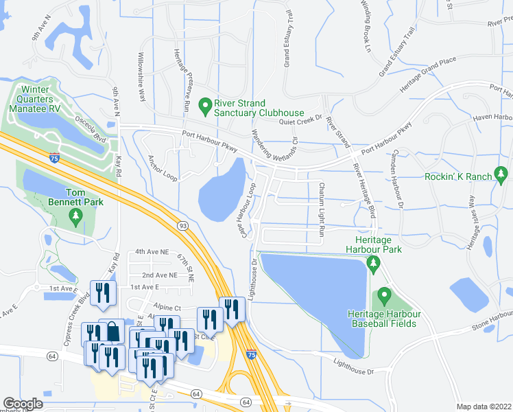 map of restaurants, bars, coffee shops, grocery stores, and more near 329 Cape Harbour Loop in Bradenton