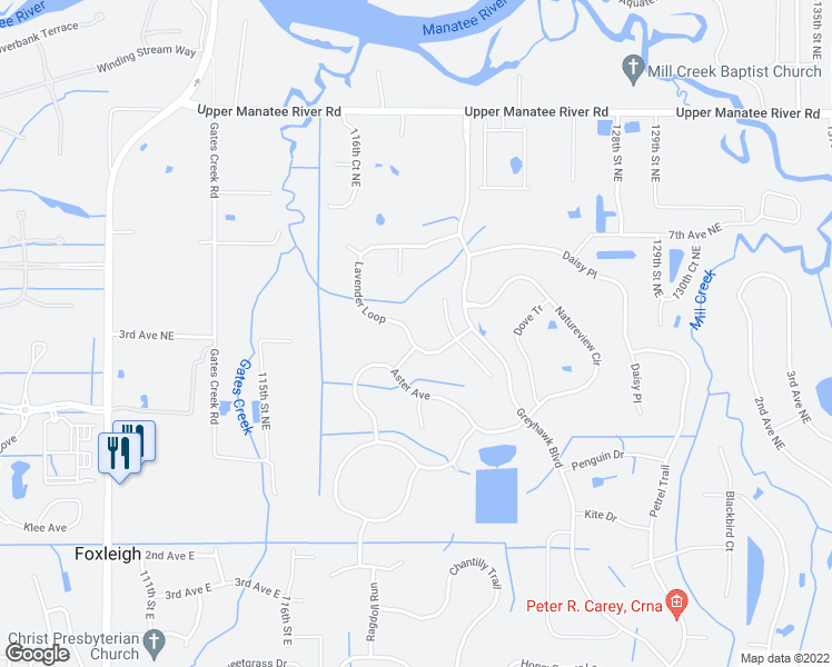 map of restaurants, bars, coffee shops, grocery stores, and more near 12354 Lavender Loop in Bradenton