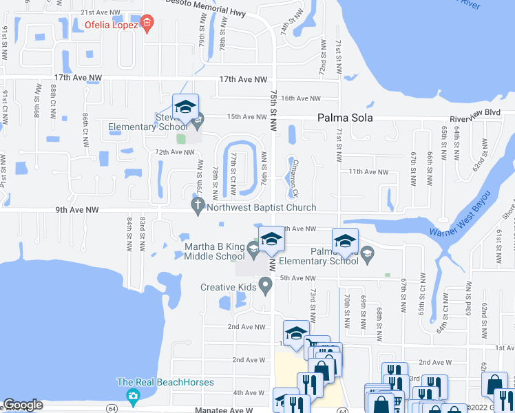 map of restaurants, bars, coffee shops, grocery stores, and more near in Bradenton