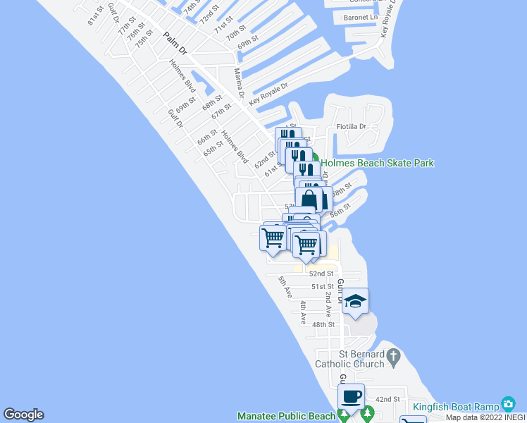 map of restaurants, bars, coffee shops, grocery stores, and more near 5605 Carissa Street in Holmes Beach