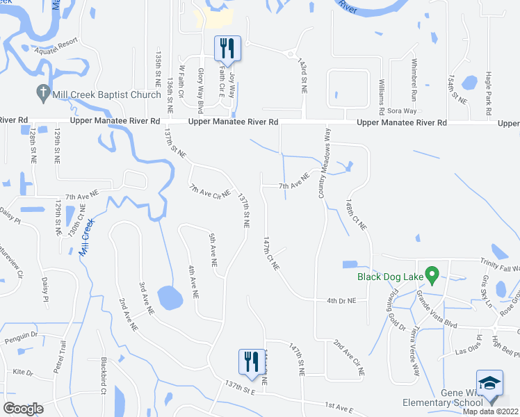 map of restaurants, bars, coffee shops, grocery stores, and more near 620 147th Court Northeast in Bradenton