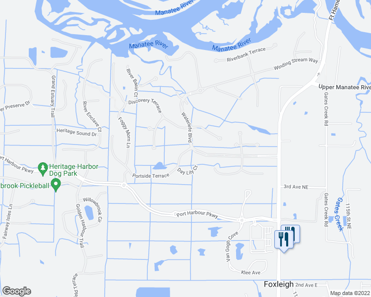 map of restaurants, bars, coffee shops, grocery stores, and more near 9927 Portside Terrace in Bradenton