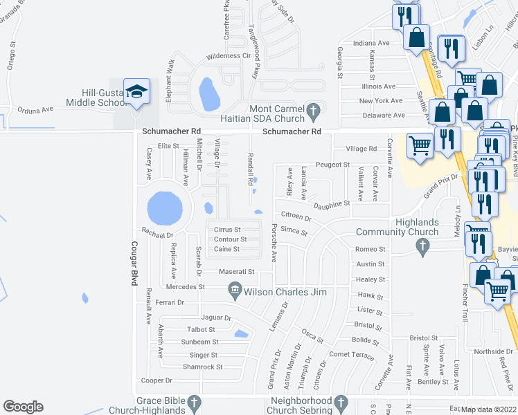 map of restaurants, bars, coffee shops, grocery stores, and more near 1400 Randall Road in Sebring