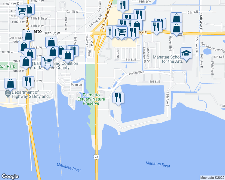 map of restaurants, bars, coffee shops, grocery stores, and more near Haben Boulevard & Riviera Dunes Way in Palmetto