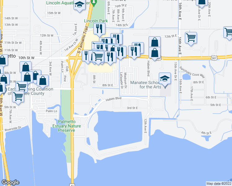 map of restaurants, bars, coffee shops, grocery stores, and more near 501 Haben Boulevard in Palmetto
