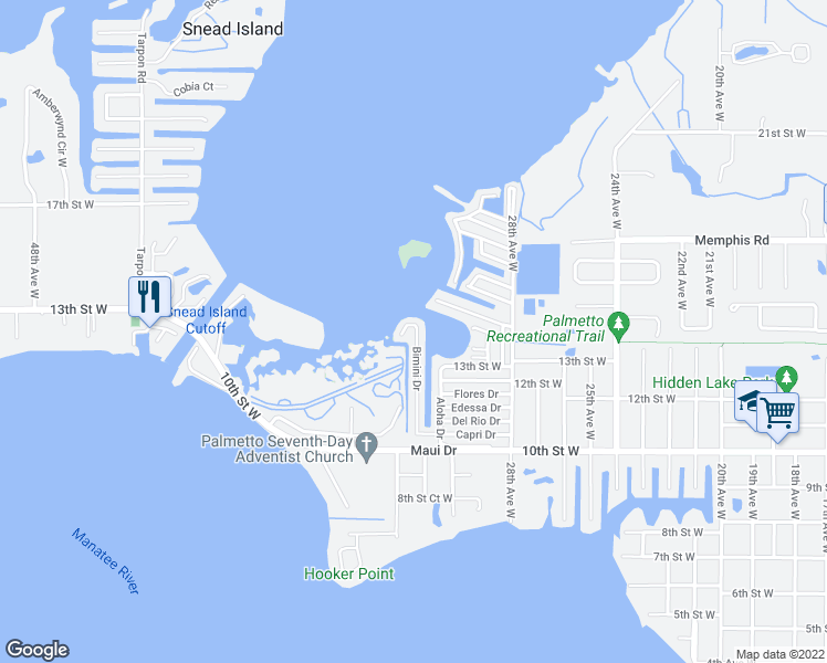 map of restaurants, bars, coffee shops, grocery stores, and more near 204 Bimini Drive in Palmetto