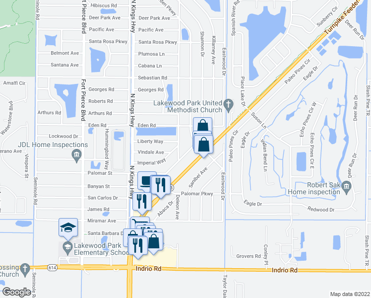 map of restaurants, bars, coffee shops, grocery stores, and more near 6708 Pandora Avenue in Fort Pierce