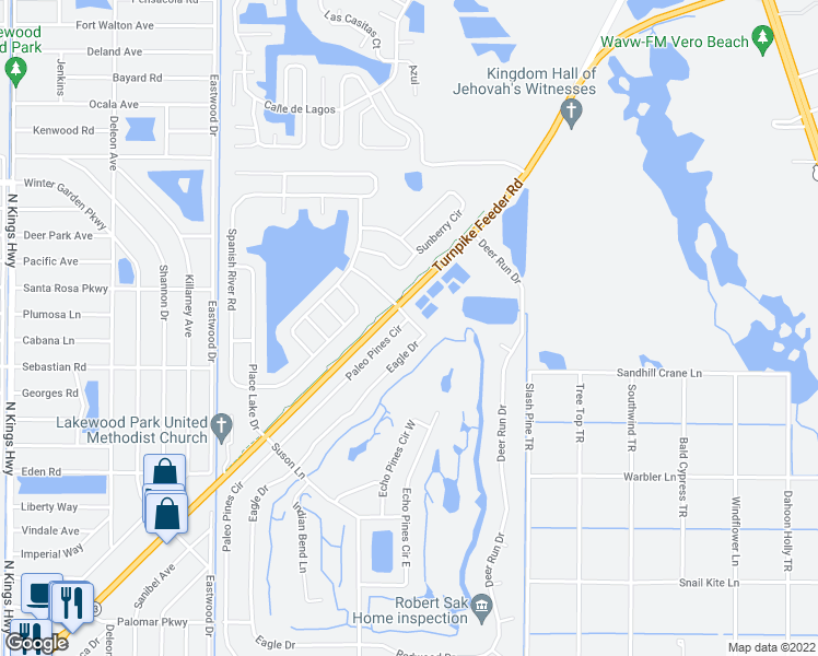map of restaurants, bars, coffee shops, grocery stores, and more near 5800 Paleo Pines Circle in Fort Pierce
