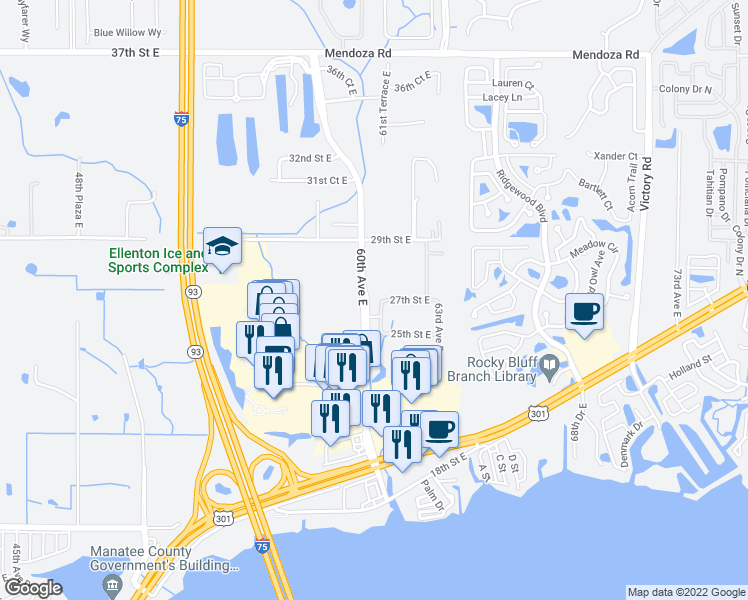 map of restaurants, bars, coffee shops, grocery stores, and more near 2627 61st Avenue East in Ellenton