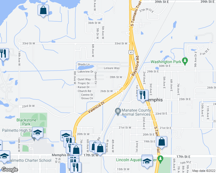 map of restaurants, bars, coffee shops, grocery stores, and more near 510 26th Street West in Palmetto