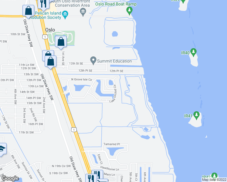 map of restaurants, bars, coffee shops, grocery stores, and more near 720 Lake Orchid Circle in Vero Beach