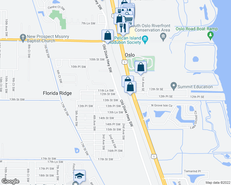 map of restaurants, bars, coffee shops, grocery stores, and more near 226 12th Street Southwest in Vero Beach