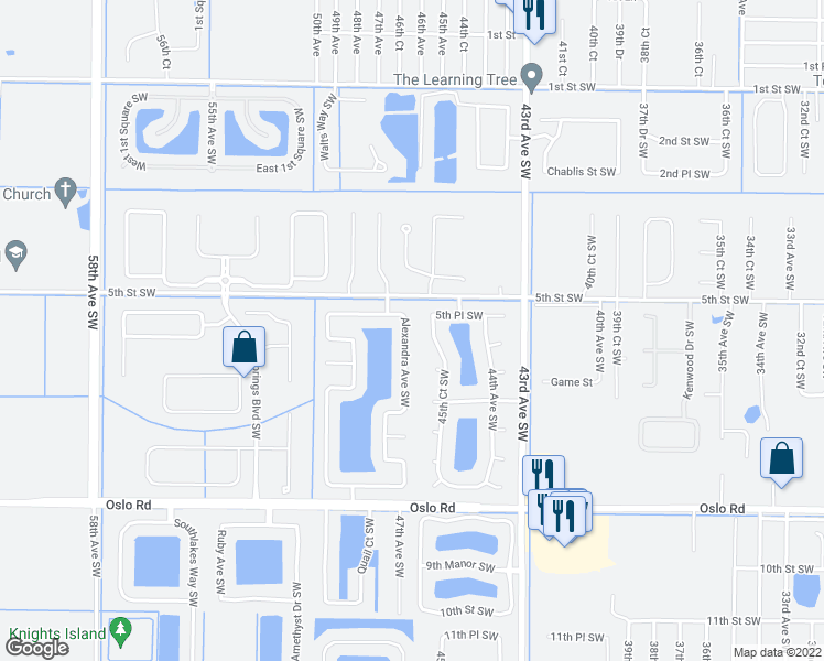 map of restaurants, bars, coffee shops, grocery stores, and more near 530 Alexandra Avenue Southwest in Vero Beach