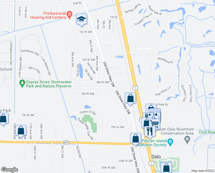 map of restaurants, bars, coffee shops, grocery stores, and more near 534 5th Street Southwest in Vero Beach