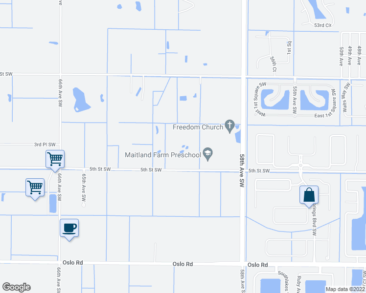 map of restaurants, bars, coffee shops, grocery stores, and more near 6020 5th Street Southwest in Vero Beach