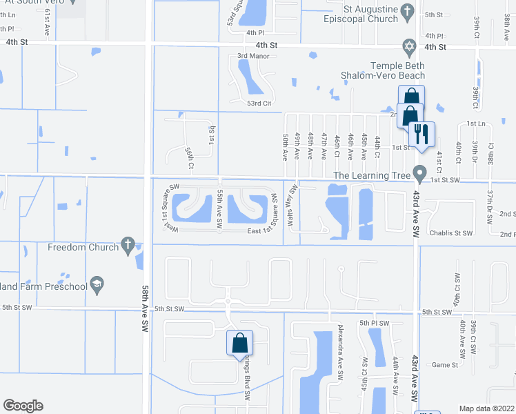 map of restaurants, bars, coffee shops, grocery stores, and more near 210 53rd Court Southwest in Vero Beach