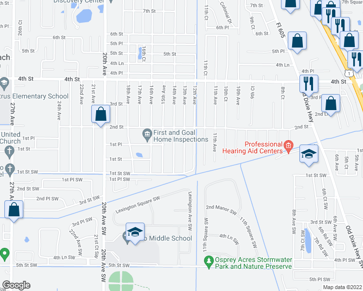 map of restaurants, bars, coffee shops, grocery stores, and more near 161 13th Avenue in Vero Beach