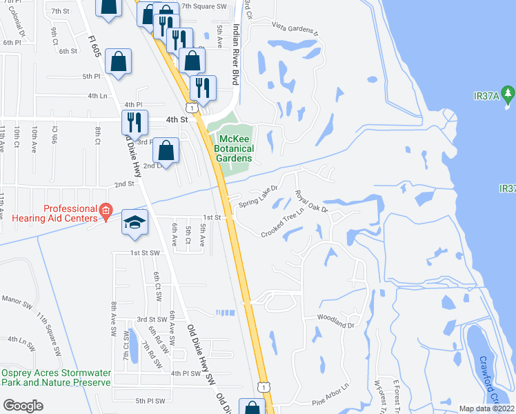 map of restaurants, bars, coffee shops, grocery stores, and more near 94 Spring Lake Drive in Vero Beach