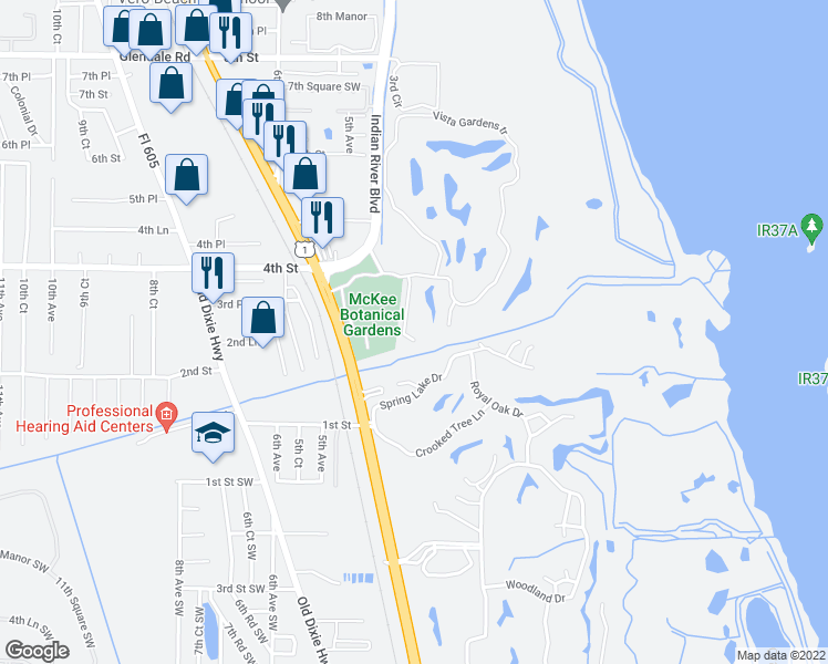 map of restaurants, bars, coffee shops, grocery stores, and more near 246 Vista Court in Vero Beach