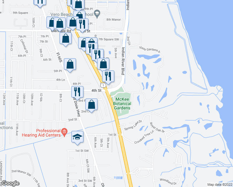 map of restaurants, bars, coffee shops, grocery stores, and more near 29 Vista Gardens Trail in Vero Beach