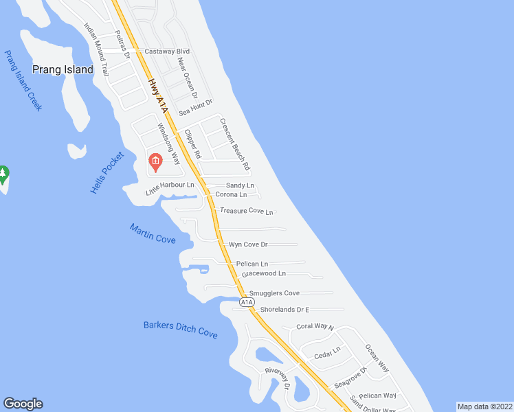 map of restaurants, bars, coffee shops, grocery stores, and more near 1470 Treasure Cove Lane in Vero Beach
