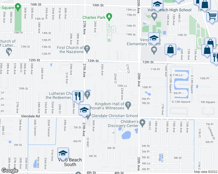map of restaurants, bars, coffee shops, grocery stores, and more near 1016 24th Avenue in Vero Beach