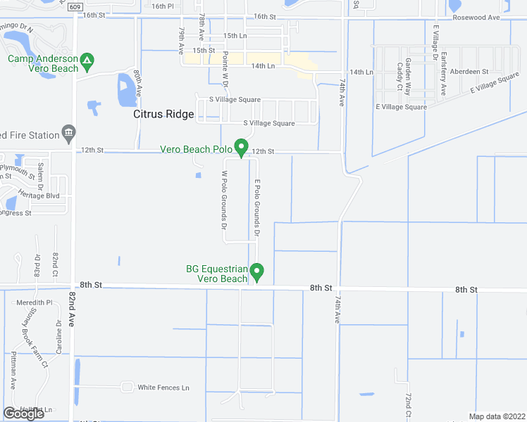 map of restaurants, bars, coffee shops, grocery stores, and more near 984 East Polo Grounds Drive in Vero Beach