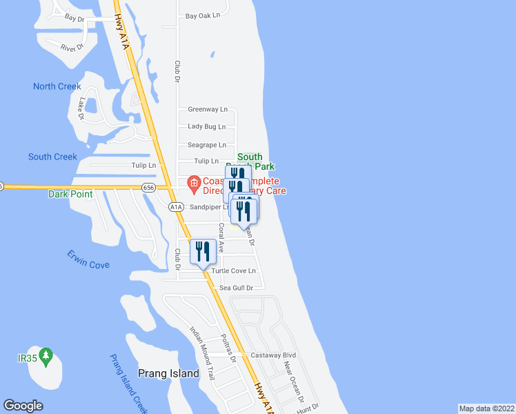 map of restaurants, bars, coffee shops, grocery stores, and more near 1700 Ocean Drive in Vero Beach