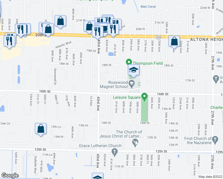 map of restaurants, bars, coffee shops, grocery stores, and more near 1610 42nd Square in Vero Beach