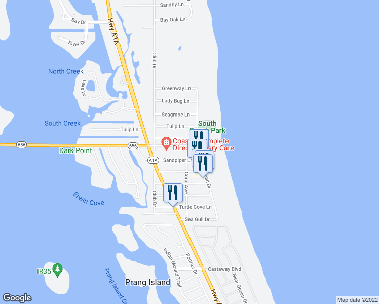 map of restaurants, bars, coffee shops, grocery stores, and more near 907 Ocean Place in Vero Beach