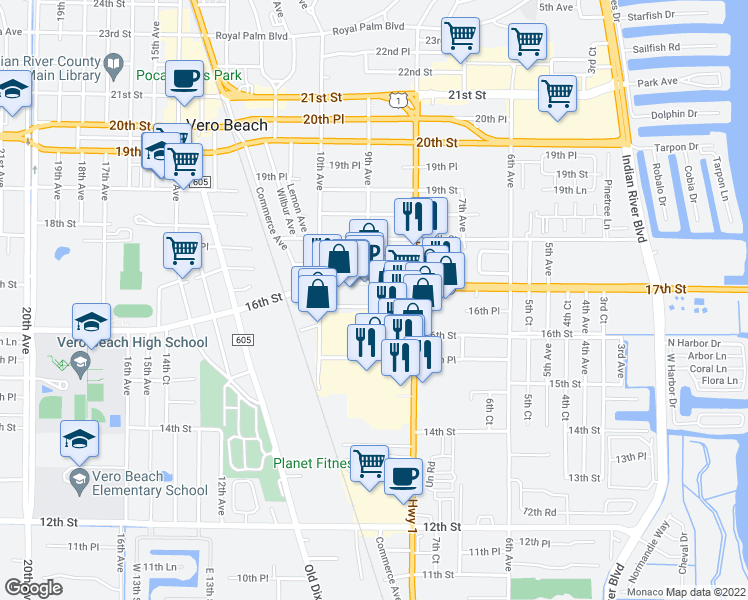 map of restaurants, bars, coffee shops, grocery stores, and more near 866 16th Place in Vero Beach