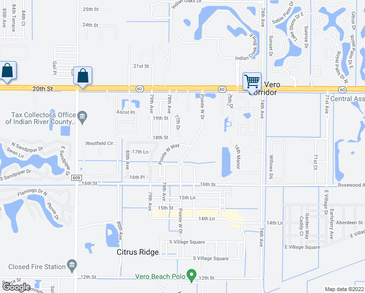 map of restaurants, bars, coffee shops, grocery stores, and more near 1810 Pointe West Way in Vero Beach