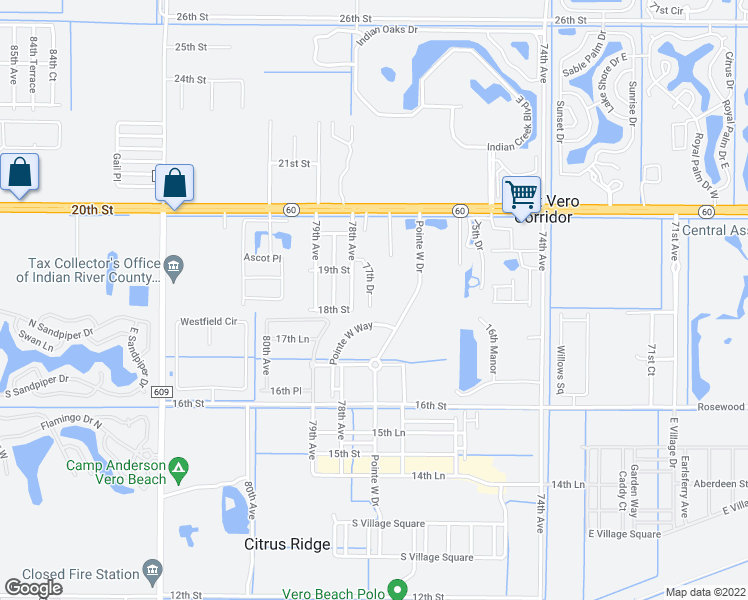 map of restaurants, bars, coffee shops, grocery stores, and more near 1834 77th Drive in Vero Beach