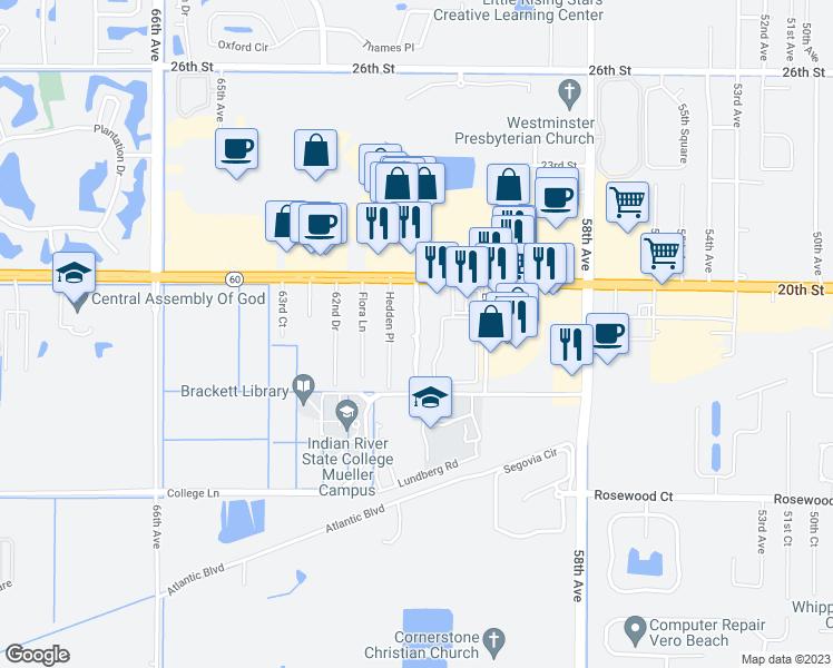 Map Of Vero Beach Florida.1925 Sixty Oaks Lane Vero Beach Fl Walk Score