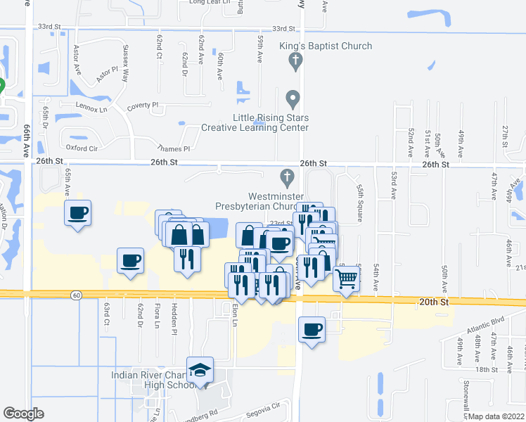 map of restaurants, bars, coffee shops, grocery stores, and more near 2365 59th Avenue in Vero Beach