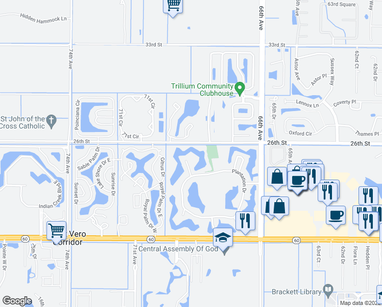 map of restaurants, bars, coffee shops, grocery stores, and more near 43 Plantation Drive in Vero Beach