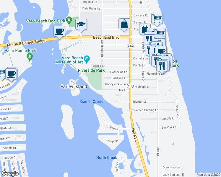 map of restaurants, bars, coffee shops, grocery stores, and more near 525 Iris Lane in Vero Beach