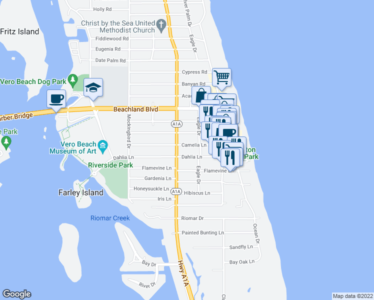 map of restaurants, bars, coffee shops, grocery stores, and more near 5400 Florida A1A in Indian River Shores